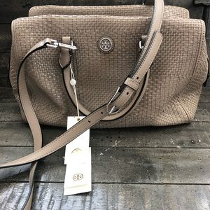 TORY BURCH ROBINSON WOVEN SOFT SATCHEL GRAY